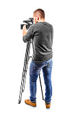 Video camera operator isolated on a white background