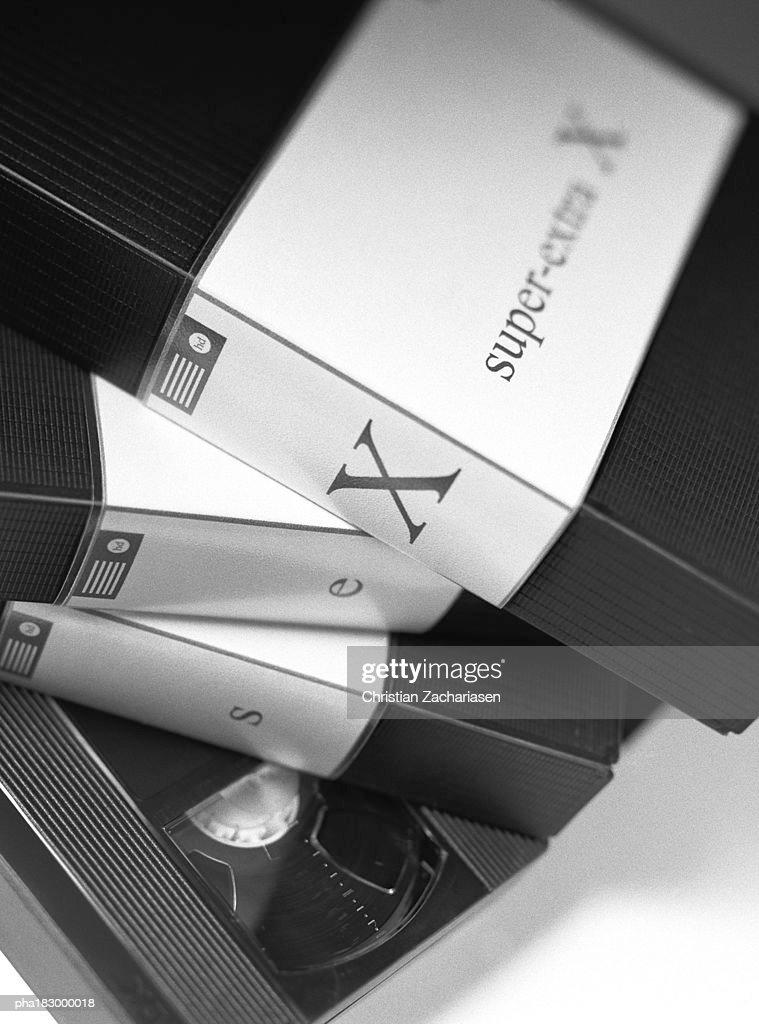 Video cassettes, close-up, b&w : Stock Photo