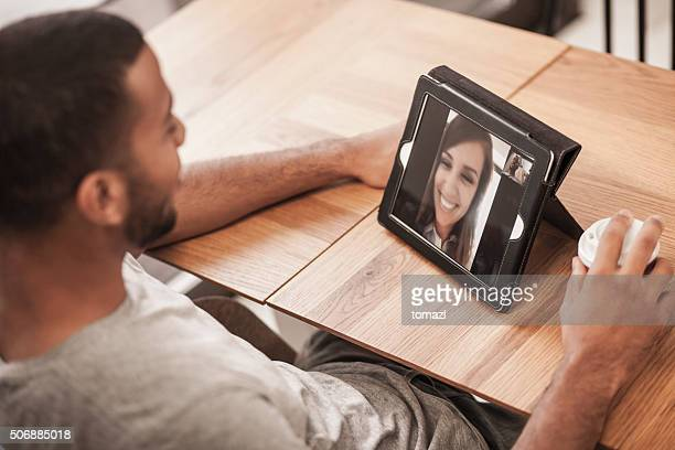 Video chat in a coffee shop