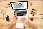 video conference, education online, coaching on internet or webinar