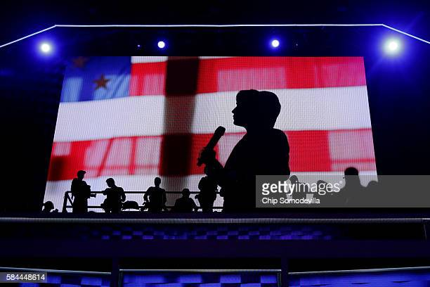 A video displays an introduction to Democratic presidential candidate Hillary Clinton on the fourth day of the Democratic National Convention at the...