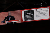 A video displays UFC President Dana White and 'Video Unavailable' during his speech on the second day of the Republican National Convention on July...