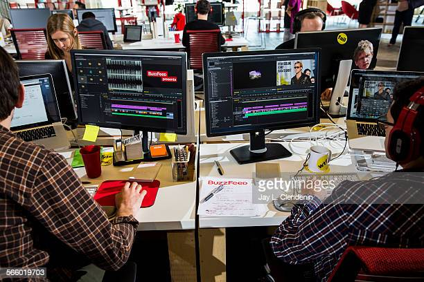 Video editing inside the newsroom of the Los Angeles headquarters of the website Buzzfeedcom photographed Oct 7 2013