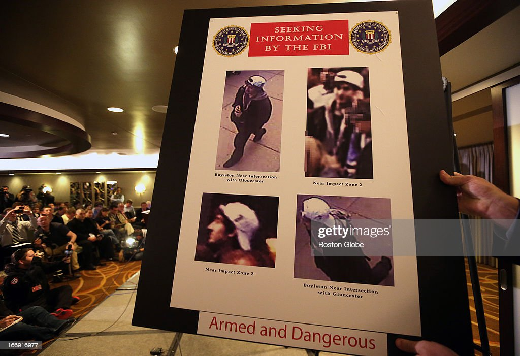 Video footage and these photos of persons of interest were unveiled at today's press conference regarding the investigation of the Boston Marathon bombing.