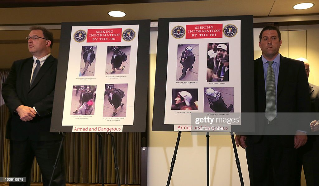 Video footage and these photos of persons of interest were unveiled at today's press conference regarding the investigation of the Boston Marathon bombing. Special Agent in Charge of the FBI's Boston Field Office Richard DesLauriers, United States Attorney Carmen Ortiz, and FBI JTTF law enforcement partners spoke at the briefing.