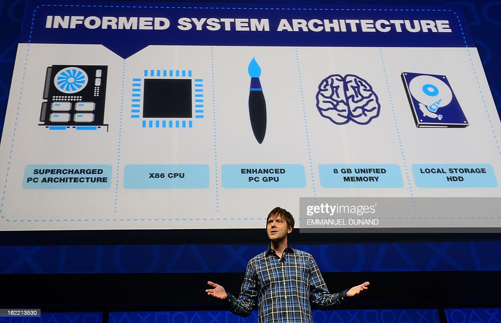 Video game designer Mark Cerny talks as Sony introduces the PlayStation 4 at a news conference February 20, 2013 in New York.