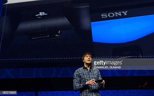 Video game designer Mark Cerny talks as Sony introduces the PlayStation 4 at a news conference February 20 2013 in New York AFP PHOTO/EMMANUEL DUNAND