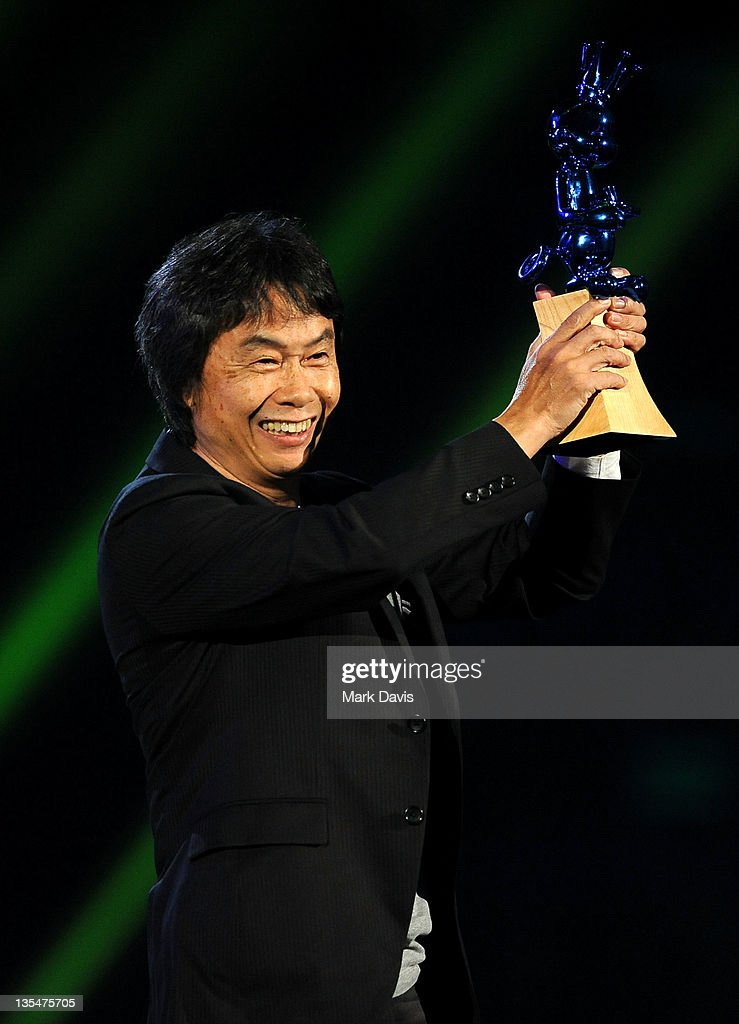 Video game designer Shigeru Miyamoto accepts the Video Game Hall of Fame inductee award for 'The Legend of Zelda' onstage at Spike TV's '2011 Video Game Awards' at Sony Studios on December 10, 2011 in Los Angeles, California.