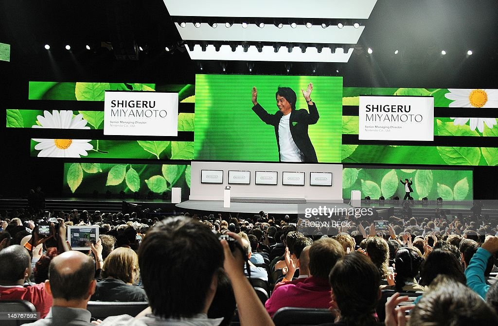 Video game designer Shigeru Miyamoto, the creator of games such as Mario, Donkey Kong, The Legend of Zelda, Star Fox, F-Zero and Pikmin, takes the stages a the Nintendo E3 2012 media briefing in Los Angeles on June 5, 2012. The Electronic Entertainment Expo (E3), the video game industry's biggest event, runs from June 5-7.