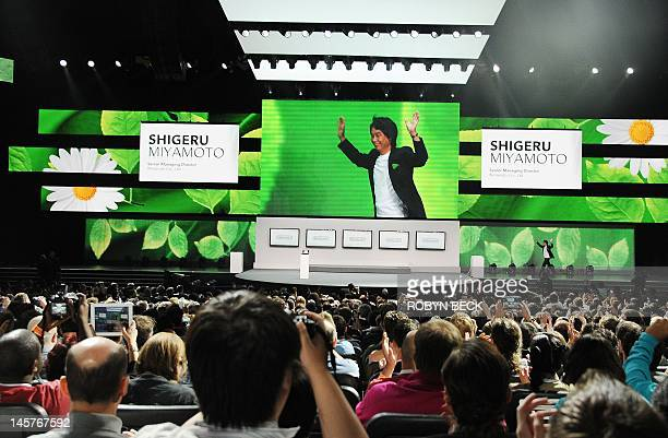Video game designer Shigeru Miyamoto the creator of games such as Mario Donkey Kong The Legend of Zelda Star Fox FZero and Pikmin takes the stages a...