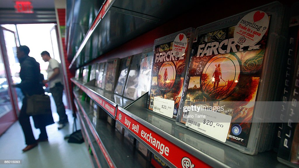 Video games are seen for sale in a CeX store April 17, 2009 in New York City. Video game sales in the U.S. fell more than expected last month and were generally flat in the first quarter when compared with 2008 due in part to the recession and fewer big game launches. The CeX store reported average sales for the month which they attribute to demand for used game sales.