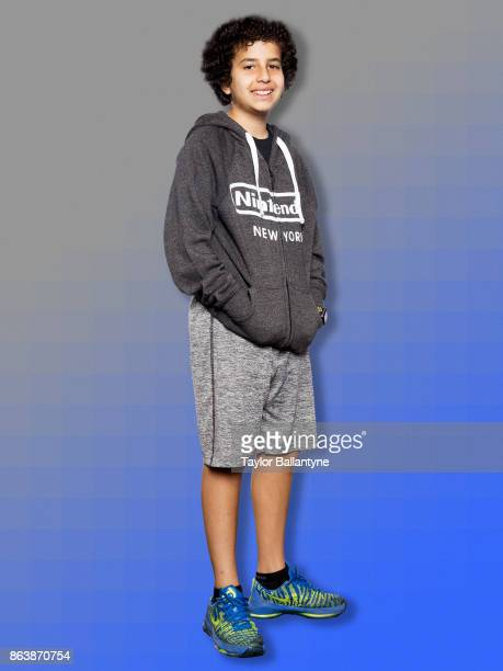 Nintendo World Championships Preview Portrait of Abe age 12 posing during photo shoot before tournament at Wyndham New Yorker Hotel New York NY...