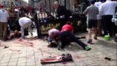 A video grab shows the victims of one of the blasts at the finish line of the Marathon in Boston Massachusetts on April 2013 At least two people were...