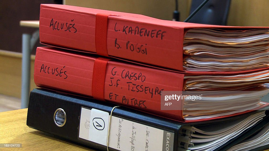 A video grab taken on March 5, 2013 in a courtroom at Paris' courthouse shows prosecution files displayed during the trial of Leonide Kameneff, the founder of 'L'Ecole en bateau' (a training vessel). Kameneff and three of his crew members are charged for raping 14 teenagers schooling on their boat between 1980 and 1990.