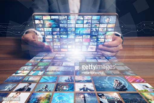 video hosting website. movie streaming service. digital photo album. : Stock Photo