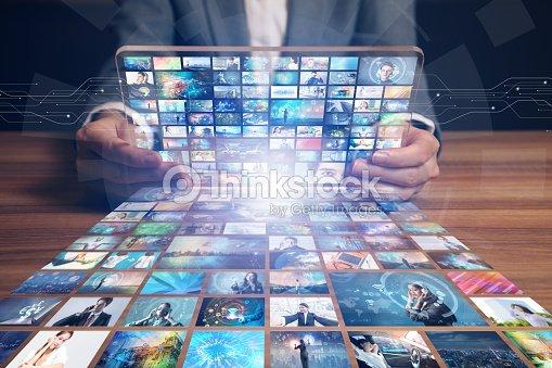 video hosting website. movie streaming service. digital photo album. : Stock Photo