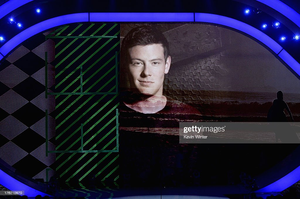 Video image of the late actor Cory Monteith onstage as 'Glee' wins Choice TV Show: Comedy award during the Teen Choice Awards 2013 at Gibson Amphitheatre on August 11, 2013 in Universal City, California.