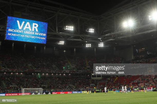 VAR Video Incident Review during the game A general view of The Spartak Stadium / Otkritie Arena home of Spartak Moscow in Moscow Russia A host venue...
