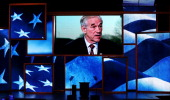 A video is displayed featuring US Rep Ron Paul during the third day of the Republican National Convention at the Tampa Bay Times Forum on August 29...
