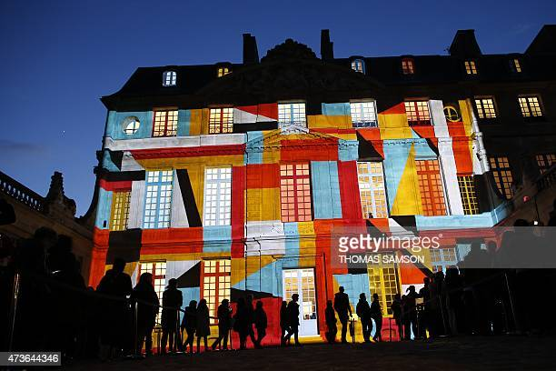 Video mapping is used to display a projection on the Hotel Sale which houses the Picasso Museum in Paris as part of the 11th edition of the European...