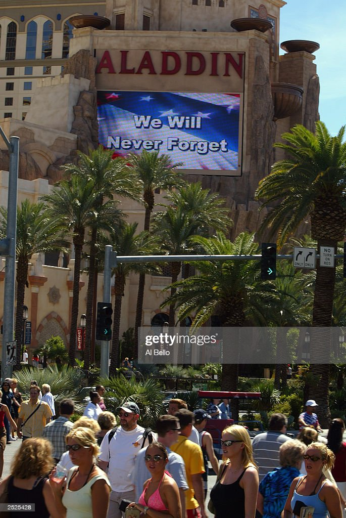 A video message is shown in honor of the victims of the terrorist attacks on September 11, 2001 at the Aladdin Hotel on the Las Vegas strip on September 11, 2003 in Las Vegas, Nevada.