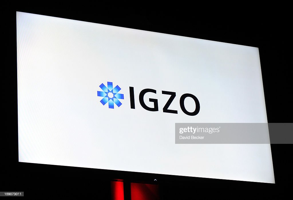A video monitor displays the IGZO logo during a Sharp Electronics press event at the Mandalay Bay Convention Center for the 2013 International CES on January 7, 2013 in Las Vegas, Nevada. CES, the world's largest annual consumer technology trade show, runs from January 8-11 and is expected to feature 3,100 exhibitors showing off their latest products and services to about 150,000 attendees.