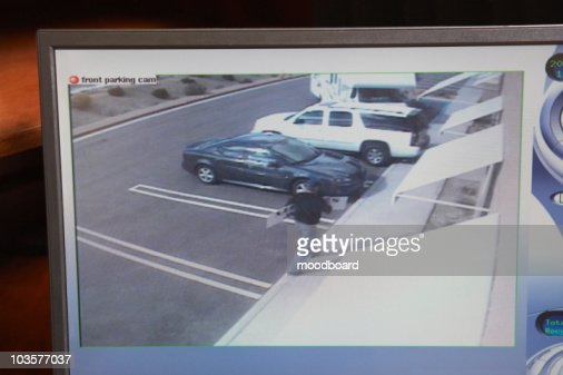 Video monitor with picture from security camera : Stock Photo