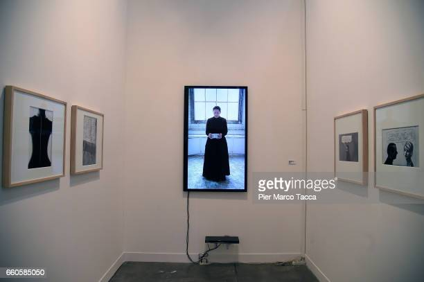 A video of Marina Abramovic is displayed during the Miart Fair 2017 at Fiera Milano City on March 30 2017 in Milan Italy