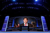 A video of Sen Marco Rubio delivering a speech is displayed during the third day of the Republican National Convention on July 20 2016 at the Quicken...