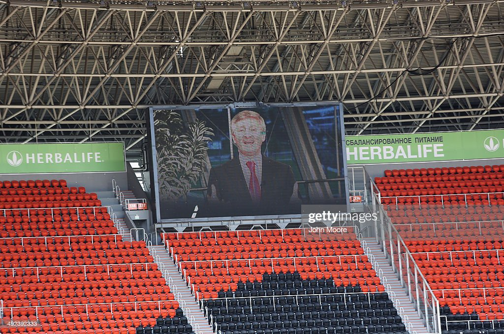 A video of Ukranian industrialist Rinal Akhmetov, addresses a peace demonstration held at the FC Shakhtar Donetsk soccer stadium on May 20, 2014 in Donetsk, Ukraine. Industrialist Rinal Akhmetov, Ukraine's wealthiest man, called for peaceful demonstrations across eastern Ukraine against pro-Russian separatists controling much of the region.