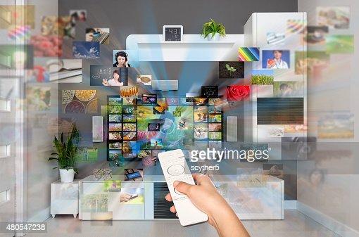 Video auf Abruf VOD-service auf dem Fernseher. : Stock-Foto