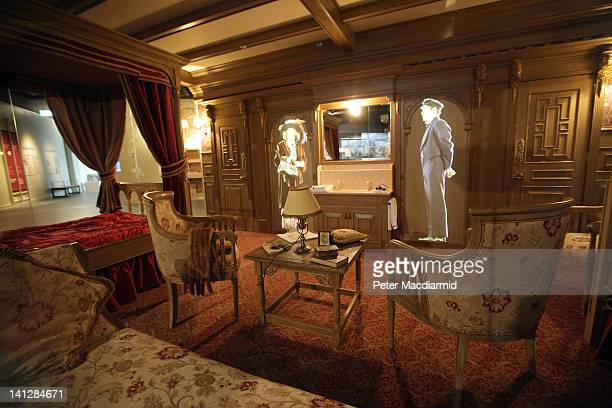 Video projected characters are seen in a replica first class cabin at The Titanic Belfast attraction on March 13 2012 in Belfast Northern Ireland The...