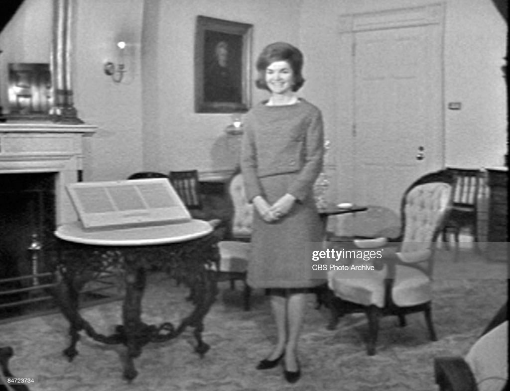 Video screen grab of American First Lady Jacqueline Kennedy (1960 - 1999) during an interview in the Lincoln Room of the White House, Washington DC, January 15, 1962. The interview aired as a CBS News Special program called 'A Tour of the White House with Mrs. John F. Kennedy.'