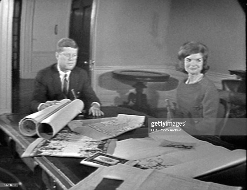Video screen grab shows American President John Fitzgerald Kennedy (1917 - 1963) and his wife, First Lady <a gi-track='captionPersonalityLinkClicked' href=/galleries/search?phrase=Jacqueline+Kennedy&family=editorial&specificpeople=70028 ng-click='$event.stopPropagation()'>Jacqueline Kennedy</a> (1960 - 1999), as they sit during an interview in the Treaty Room of in the White House, Washington DC, January 15, 1962. The interview aired as a CBS News Special program called 'A Tour of the White House with Mrs. <a gi-track='captionPersonalityLinkClicked' href=/galleries/search?phrase=John+F.+Kennedy+-+US+President&family=editorial&specificpeople=70027 ng-click='$event.stopPropagation()'>John F. Kennedy</a>.'
