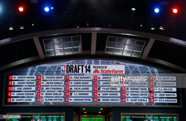 A video screen shows the completed first round selections during the 2014 NBA Draft at Barclays Center on June 26 2014 in the Brooklyn borough of New...