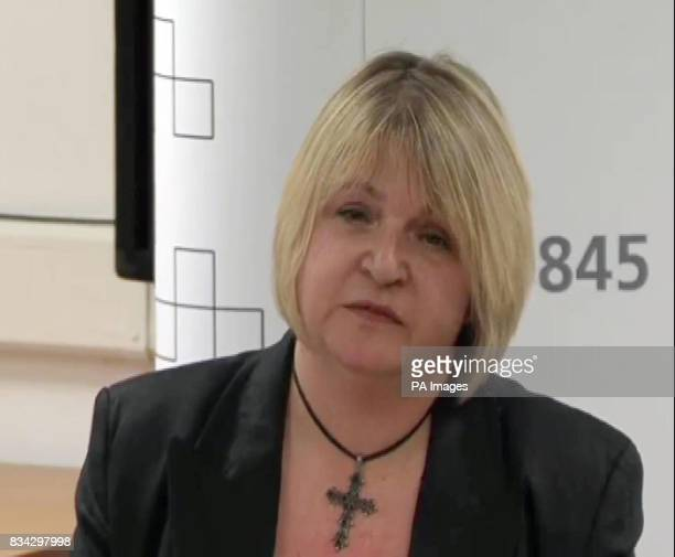 Video still of Sylvia Lancaster the mother of murdered 20yearold Goth Sophie Lancaster speaking at a news conference at Lancashire Police...