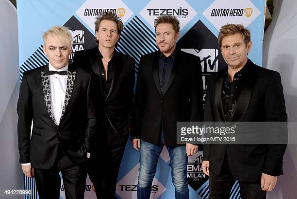 Video Visionary Award recipients Nick Rhodes John Taylor Simon Le Bon and Roger Taylor of Duran Duran pose for a portrait before the MTV EMA's 2015...