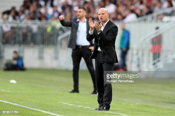 Videoton's head coach Marko Nikolic gestures during the UEFA Europa League qualifying match between Bordeaux and Videoton at Stade Matmut Atlantique...
