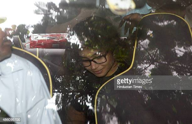Vidhi Khanna daughter of Indrani Mukerjea leaves from Bandra Court on August 31 2015 in Mumbai India Indrani Mukerjea wife of former Star India CEO...