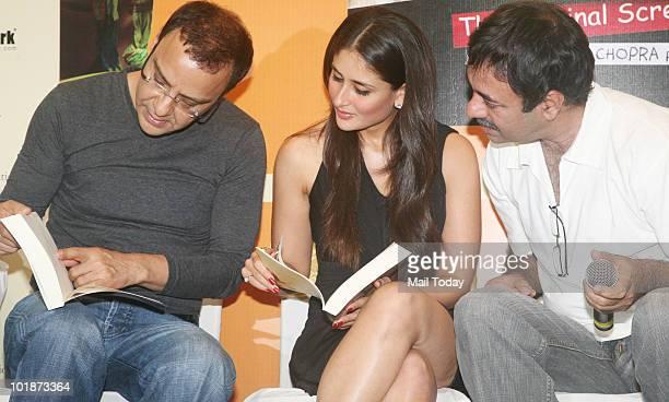 Vidhu Vinod Chopra Kareena Kapoor and Rajkumar Hirani at the launch of '3 idiots Book The Original Screenplay' by Om book international in Mumbai on...