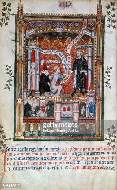 Vie de saint Denis Gilles de Pontoise donates a manuscript to Philippe V the tall Biblioteque Nationale Paris From the Grandes Chroniques de France...