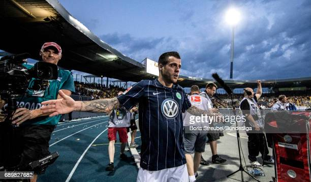 Vieirinha of VfL Wolfsburg celebrates after scoring his team's first goal during the Bundesliga Playoff Leg 2 match between Eintracht Braunschweig...