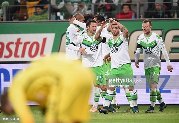 Vieirinha of Wolfsburg celebrates scoring his goal during the Bundesliga match between VfL Wolfsburg and Werder Bremen at Volkswagen Arena on...