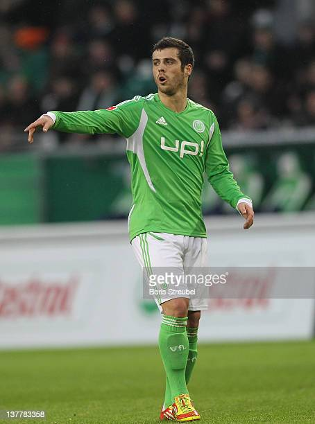 Vieirinha of Wolfsburg gestures during the Bundesliga match between VfL Wolfsburg and 1 FC Koeln at Volkswagen Arena on January 21 2012 in Wolfsburg...