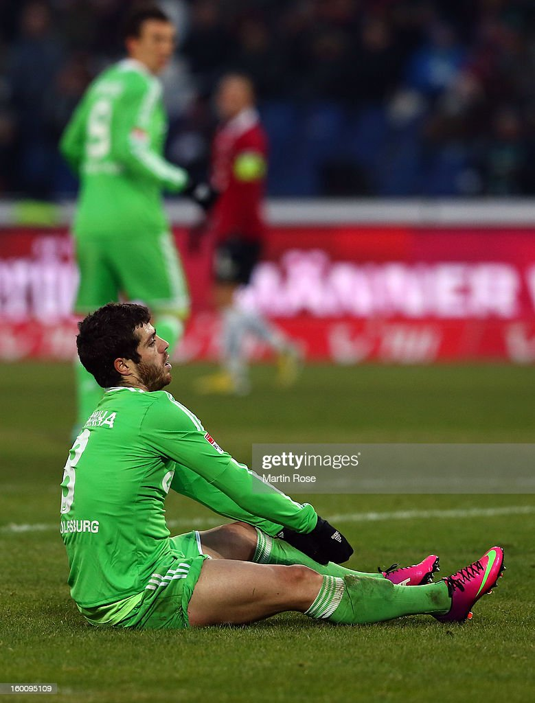 Vieirinha of Wolfsburg looks dejected during the Bundesliga match between Hannover 96 and VfL Wolfsburg at AWD Arena on January 26, 2013 in Hannover, Germany.