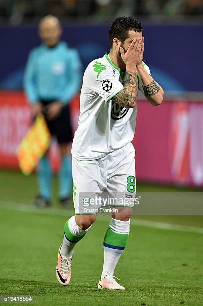 Vieirinha of Wolfsburg reacts after missing a chance during the UEFA Champions League Quarter Final First Leg match between VfL Wolfsburg and Real...