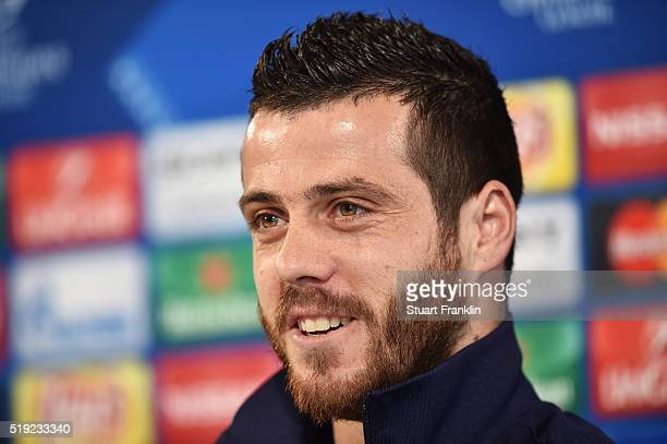 Vieirinha of Wolfsburg talks during a press conference ahead of the UEFA Champions League Quarter Final First Leg match against Real Madrid at...
