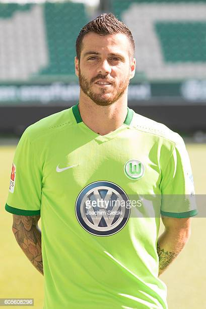 Vieirinha poses during the official team presentation of VfL Wolfsburg at Volkswagen Arena on September 14 2016 in Wolfsburg Germany