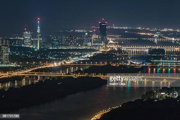Vienna aerial view at night