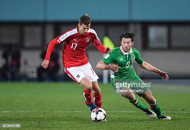 Vienna Austria 12 November 2016 Harry Arter of Republic of Ireland in action against Florian Klein of Austria the FIFA World Cup Group D Qualifier...